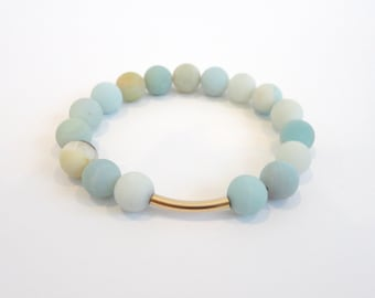 Matte Amazonite Bracelet, Gold Bar Bracelet, Stacking Bracelet, Light Blue Bracelet, Stretch Bracelet, Elastic Bracelet, Teal Bracelet