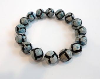 Blue Black White Tibetan Agate Bracelet, Silver Bracelet, Blue Stretch Bracelet, Tribal Bracelet, Elastic Bracelet, Statement Bracelet