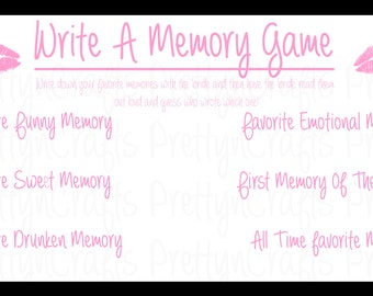 Write A Memory - 5 pack (.85 cents each!) - Bachelorette Party Game Or Bridal Shower Game