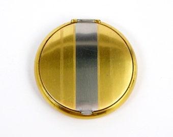 Vintage Powder Compact w/ Mirror 24 K Gold Plated Silver Tone Stripe