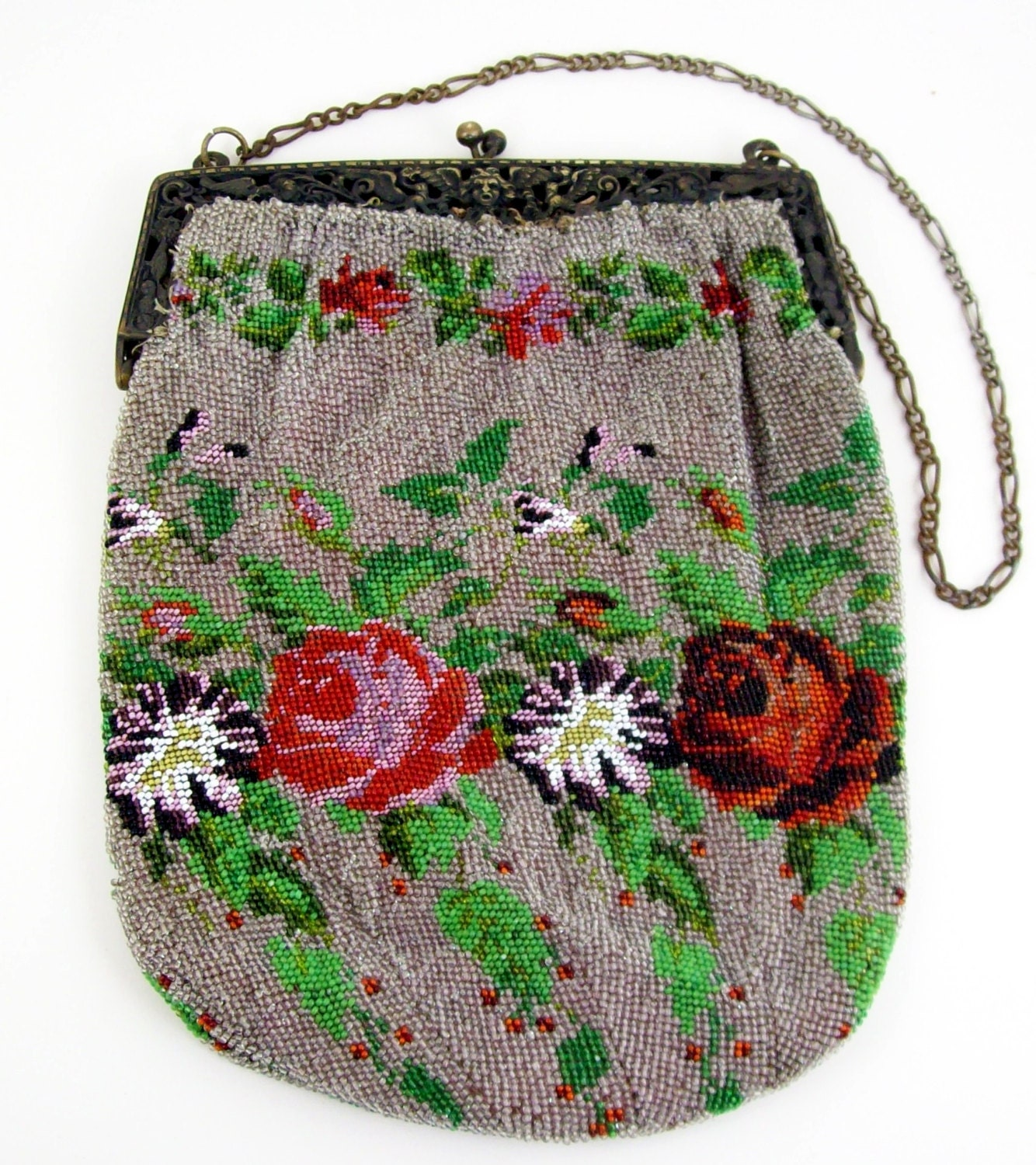 antique beaded evening bag purse floral by piecesfromthepast2