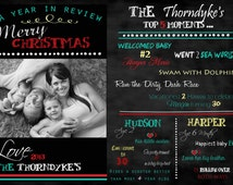 INSTAND DOWNLOAD, Reusable 5X7 PSD Christmas Chalkboard Card,  Chalkboard Template A Year in Review, changeable wording, colors and font