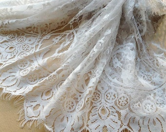 Bridal Lace Fabric, White Eyelash Chantilly Lace Trim, Wedding Table Decor, White lace shawl