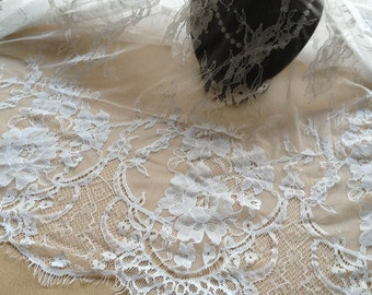 Beautiful Chantilly Fabric in White 3meters Soft Eyelash Lace Fabric Wedding Bridal Lace Fabric Costume Design