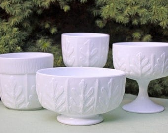 Milk Glass Oak Leaf Design Bowls. Set of Four Beautiful Wedding Vases, Planters Bowls or Collectible Dishes.