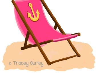Pink Beach Chair with Anchor - with and without Sand -  Original Art - 3 files, beach chair clip art, beach chair printable