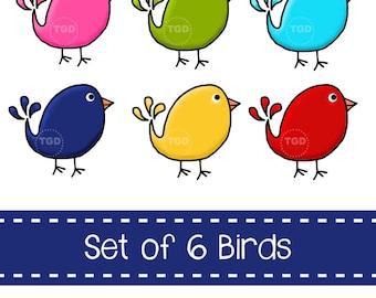 Preppy Cute Birds, set of 6 - Original art download, bird clip art, bird printable, bird graphic