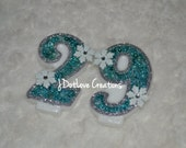 Frozen Inspired Double Digit Teal Birthday Candle (number 20-99) with Snowflakes - You Choose the Number