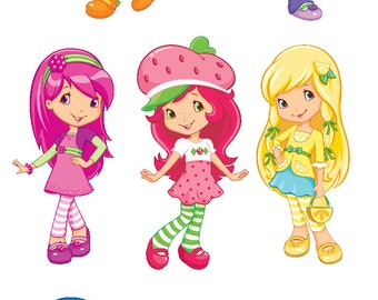 Strawberry Shortcake Set of 6 Characters Removable Wall Stickers with Free Custard the Cat and Pupcake