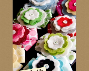 Felt Flower and Ribbon Hair Bow PDF Pattern