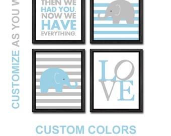 elephant baby nursery for boys, elephant nursery wall art with baby quotes, elephant baby boy decor, elephant baby room art blue gray