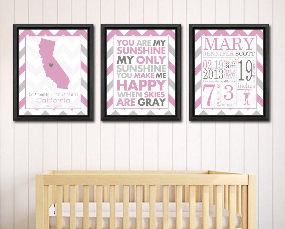 Baby Name Wall Art personalized baby names wall art pink baby birth print birth