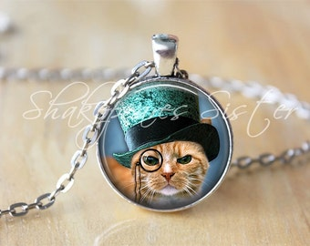 Items similar to steampunk cat pendant steampunk cat for Cat in the hat jewelry