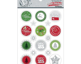 Christmas Round Glitter Stickers 18 Pieces with Candy Canes, Santa, Dec 25 for scrapbooking, card making, gift wrap/Labels/Seals/Card