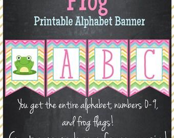 Frog Banner Printable Alphabet Banner - Instant Download