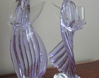 Murano Angel Candleholders, Sinuous, Lavender Glass with Aventurine Halo
