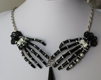 Gothic Skeleton Bone Hand Necklace