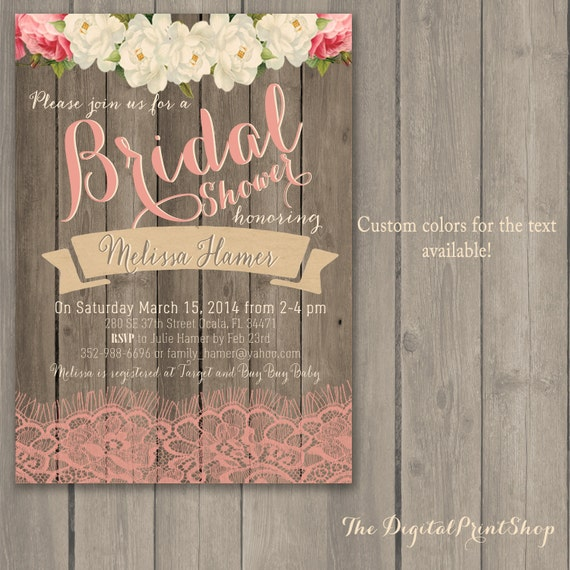 Rustic Baby, Lingerie, Bridal shower invite, wood pink peonies lace, shabby chic INVITATION Printable DIY (91) Digital Downloadable (.jpg)