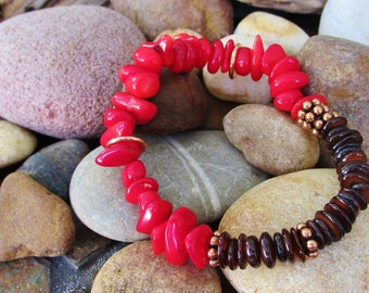 Red Coral With Brown Shell and Copper Elastic Bracelet