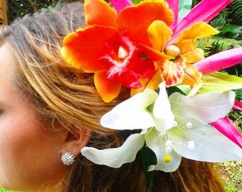 TROPICAL WEDDING HEADPIECE, Hawaiian Orchids, Bird of Paradise, Beach Wedding, Bridal Flowers, Fascinator, Silk Flowers, Bridal Accessory