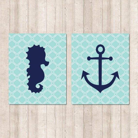 Nautical Bathroom Wall Decor : Items similar to nautical bathroom art seahorse anchor