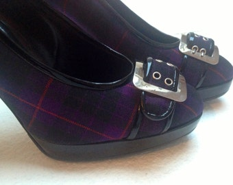 90s Jean-Paul GAULTIER Couture Platform Pumps Black Patent Leather and Purple-Black Madras fabric