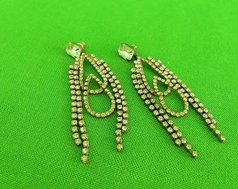 Vintage Rhinestone Chandelier Post Earrings (Item 1628)