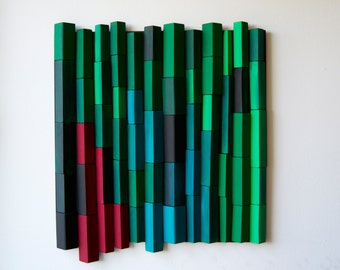 Ripples  - Emerald Forest / Original Modern Art /  3D Wood Wall Mosaic / Shipping included