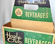 SALE Vintage SODA Bottle Holder  Hazle Club Beverages Mid Century Hazleton PA Carrier Carry All Retro Pop Culture 1950's Diner Decor
