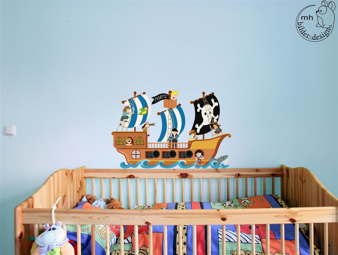 Wandtattoo piratenschiff piraten piratenzimmer name von for Wandtattoo piratenschiff