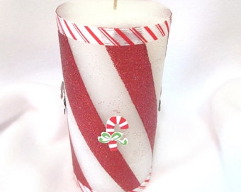 Candy Cane Pillar Candle/ Holiday Candle/ Striped Pillar Candle/ Glittered Candy Cane Scented Pillar Candle/ Peppermint Pillar Candle