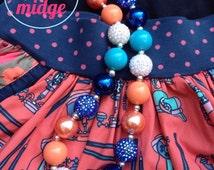 M2M Matilda Jane Secret Fields 2014 Collection - Navy, Aqua & Coral Chunky Bubblegum Bead Necklace  -Thanksgiving, birthday gift, photo prop