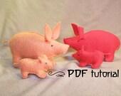 Pig, piggy, felt pig, felt piggy, pig pattern, felt pig pattern, felt pig PDF, felt pig making pattern, felt animal, felt animal tutorial