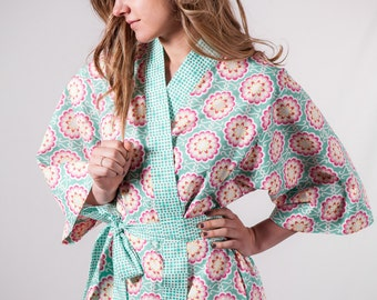Kimono Robe . Womens Plus Size Midcalf with pockets Maternity Hospital Gown Bathrobe Dressing gown Getting Ready AGF Aqua Pink Yellow