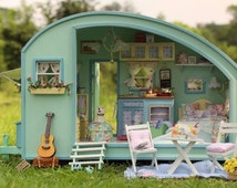 Miniature Dollhouse  DIY Kit Trailer with LED Light and Music Box Cute Room House Model Time Travel