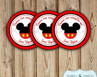 Mickey Mouse Party Favor Tags / Thank You Tags / Stickers / Labels / Gift Bag Tag / Mickey Birthday - FILE to PRINT DIY