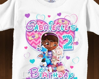 Doc Mcstuffins Birthday Shirt  Iron On Images Printable - Chevron Pink, Purple, Turquoise, Style 14- YOU PRINT