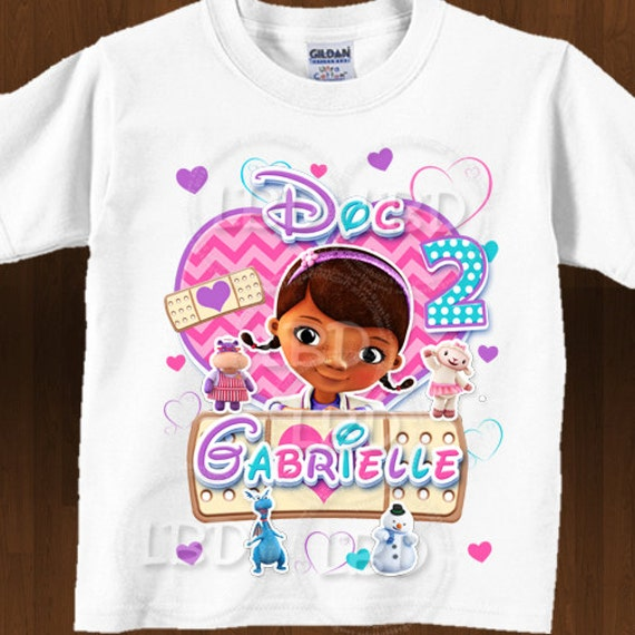 Doc mcstuffins birthday shirt iron on images printable for Doc mcstuffins birthday girl shirt