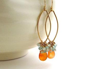 Orange carnelian earrings, aqua and orange drop earrings, gold bohemian jewelry, aquamarine cluster earrings, multi gemstone earrings