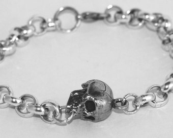 Human Skull Bracelet, Pewter, Silver Plated Chain, All British Made (wa)