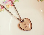 """Handmade """"Be Kind"""" Inspiration Necklace with Heart Pendant"""