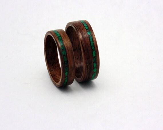 ... -Holz-Eheringe mit Malachit inlay Handmade Bentwood passende Eheringe