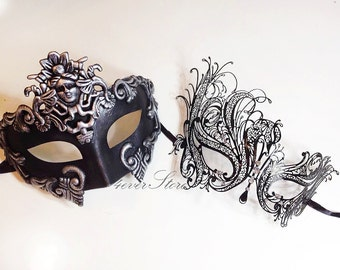 New! Couples Masquerade Masks, His & Hers Phantom Masquerade Masks - Bestselling Black Half Mask and Laser Cut Masquerade Mask with Diamonds