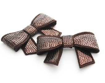 2 Small Sequin Bows--Chocolate