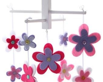 Flower Nursery Mobile - Pink and Purple Flower Mobile