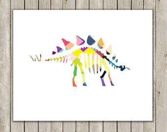8x10 Dinosaur Wall Printable, Stegosaurus Art, Fossil Wall Art, Colorful Nursery Art, Nursery Art, Poster, Instant Digital Download