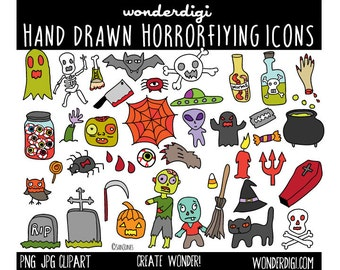 Clip art Hand drawn Clipart - Halloween clipart with black and white digi stamps