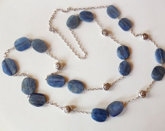 Kyanite and 925 sterling Silver extra long necklace