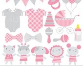 Digital clipart - Girls Baby Shower onesie bunting banners grey pink commercial use INSTANT DOWNLOAD printable