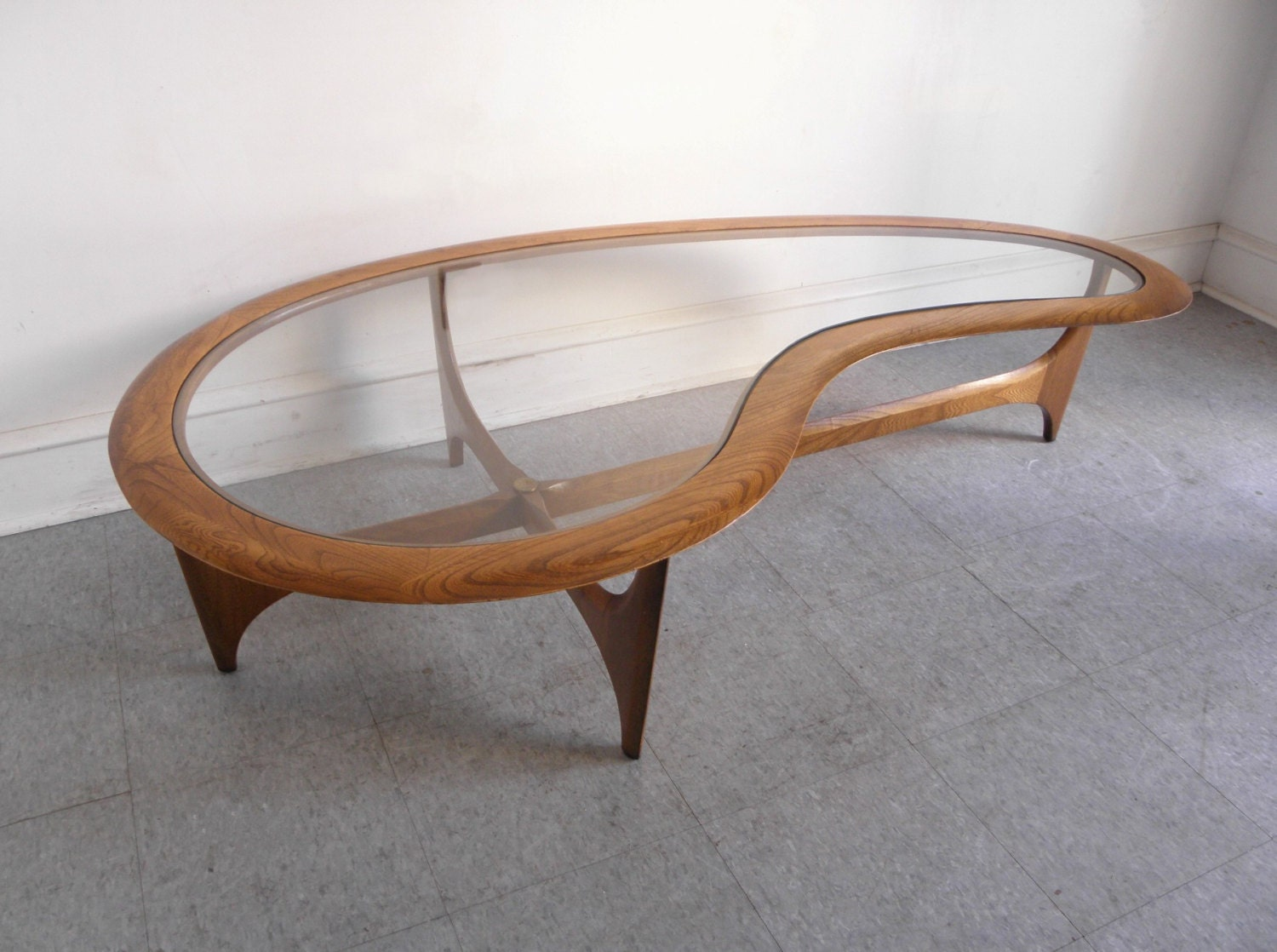 ... Lane Mid Century Modern kidney shaped walnut and glass coffee cocktail  table. 🔎zoom - For Paul Lane Mid Century Modern Kidney Shaped Walnut And
